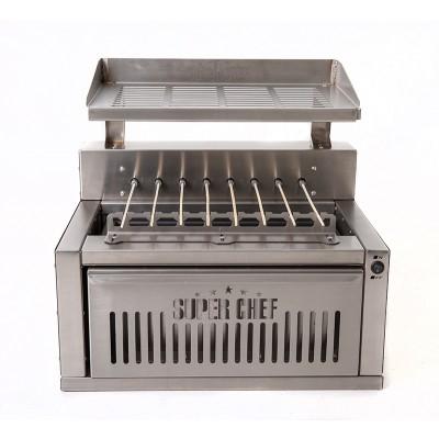 Churrasqueira Super Chef em Inox p/ 120 Espetinhos hora a carvão